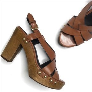 Coach Adessa Brown Leather Sandals Wood Block Heel